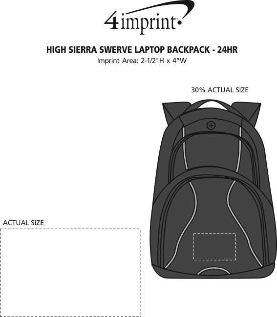 "Imprint Area of High Sierra Swerve 17"" Laptop Backpack - 24 hr"