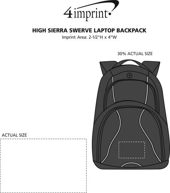 "Imprint Area of High Sierra Swerve 17"" Laptop Backpack"