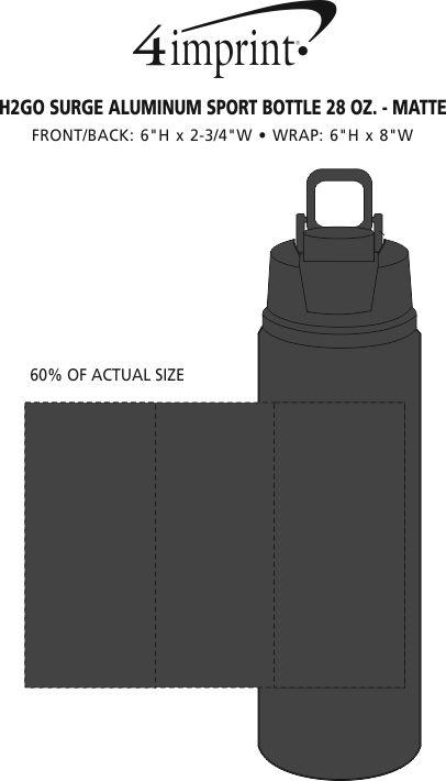 Imprint Area of h2go Surge Aluminum Sport Bottle - 28 oz. - Matte