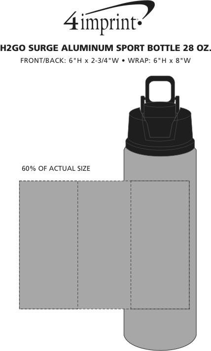 Imprint Area of h2go Surge Aluminum Bottle - 28 oz.