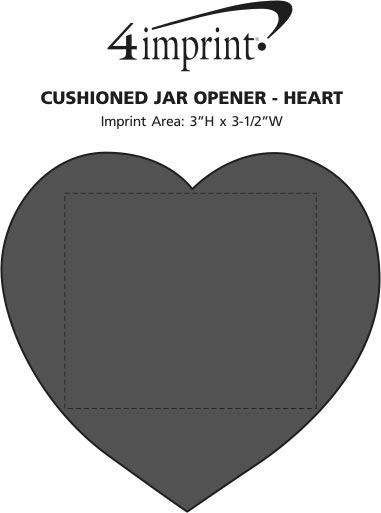 Imprint Area of Cushioned Jar Opener - Heart