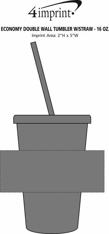Imprint Area of Economy Double Wall Tumbler with Straw - 16 oz.
