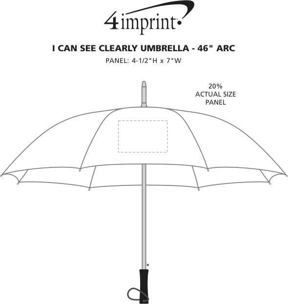 """Imprint Area of I Can See Clearly Umbrella - 46"""" Arc"""