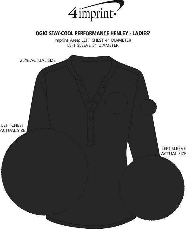 Imprint Area of OGIO Stay-Cool Performance Henley - Ladies'