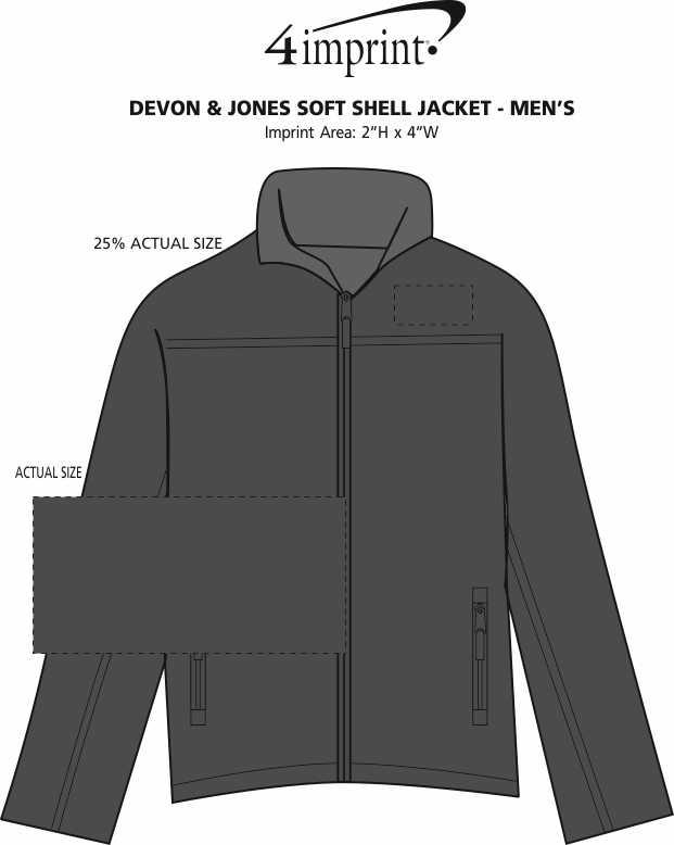 Imprint Area of Devon & Jones Soft Shell Jacket - Men's