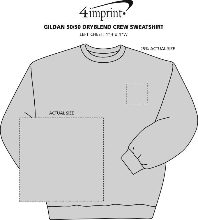 Imprint Area of Gildan 9 oz. DryBlend 50/50 Crew Sweatshirt - Screen