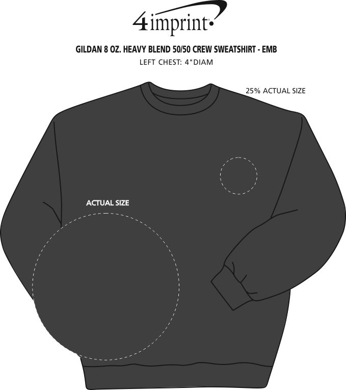 Imprint Area of Gildan 8 oz. Heavy Blend 50/50 Crew Sweatshirt - Embroidered