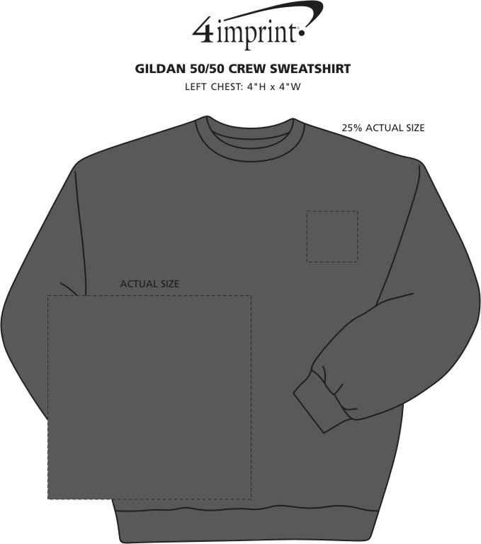 Imprint Area of Gildan 8 oz. Heavy Blend 50/50 Crew Sweatshirt