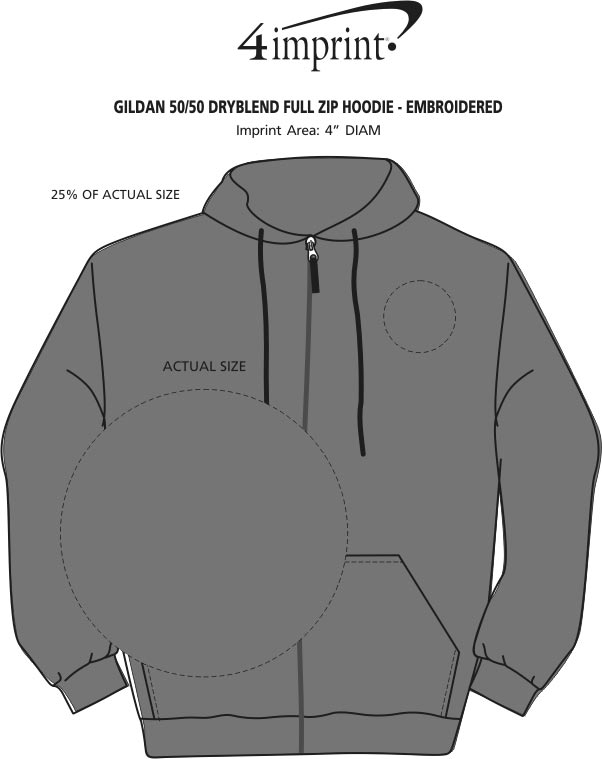 Imprint Area of Gildan 50/50 DryBlend Full-Zip Hoodie - Embroidered