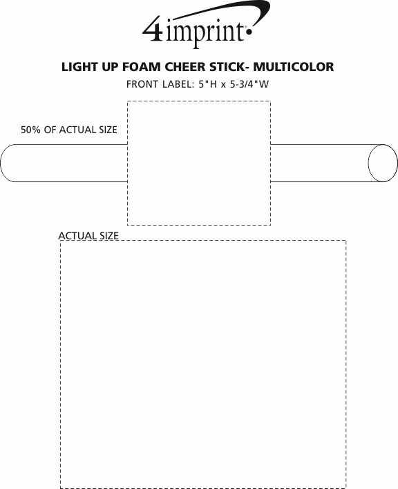 Imprint Area of Light-Up Foam Cheer Stick - Multicolor