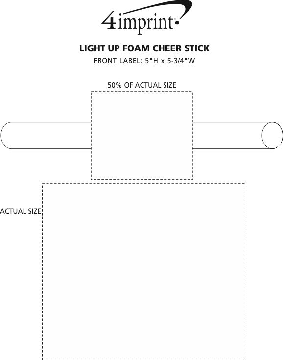 Imprint Area of Light-Up Foam Cheer Stick