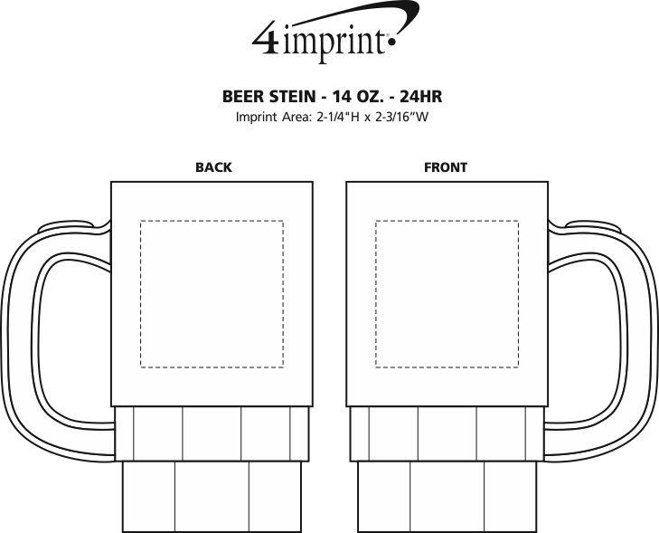 Imprint Area of Beer Stein - 14 oz. - 24 hr
