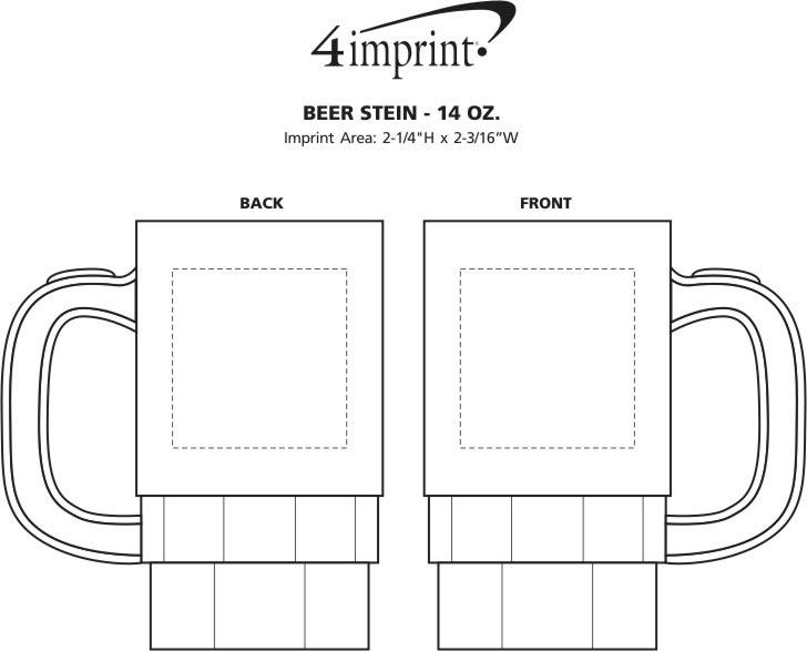 Imprint Area of Beer Stein - 14 oz.