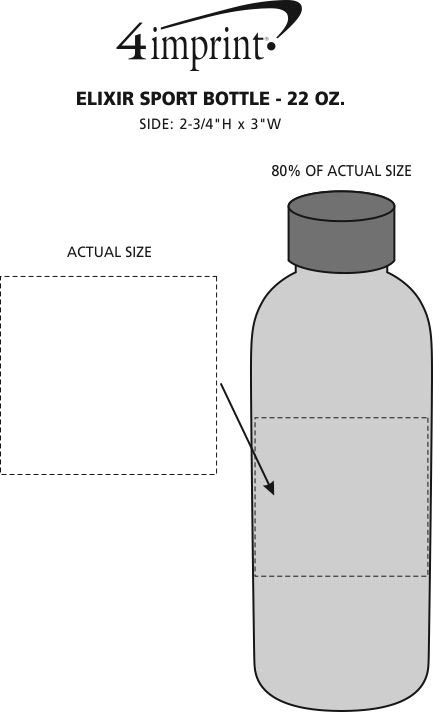 Imprint Area of Elixir Sport Bottle - 22 oz.