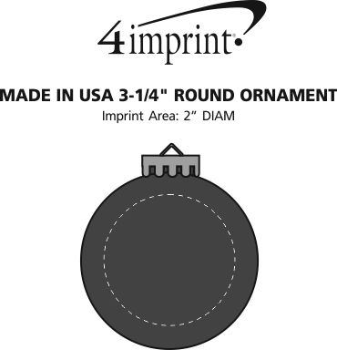 Imprint Area of Round Shatterproof Ornament - Opaque