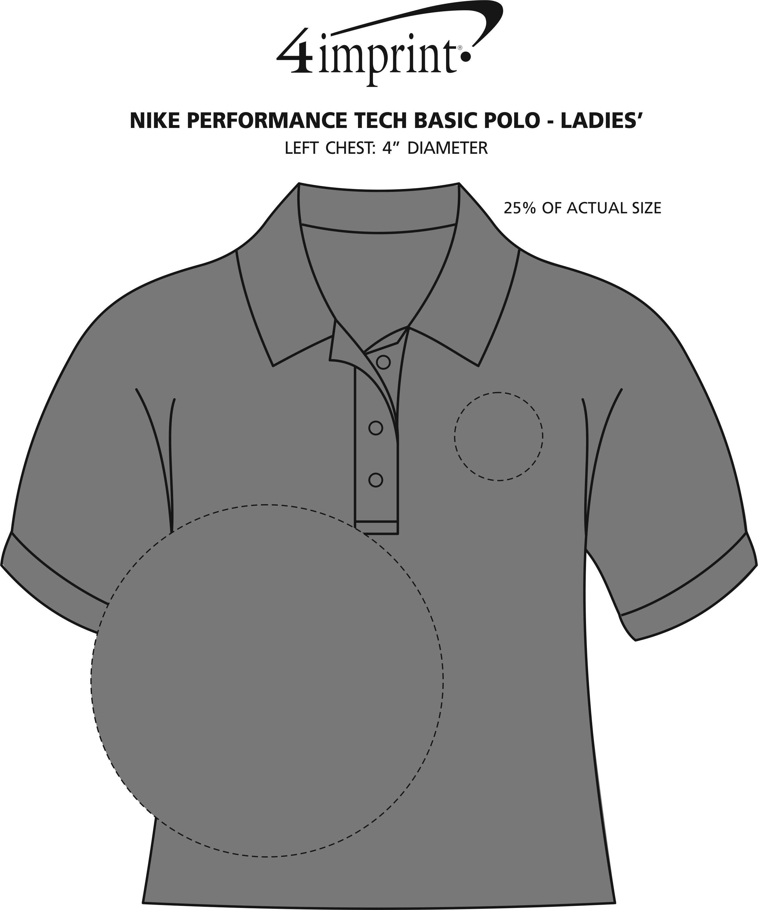 Imprint Area of Nike Performance Tech Basic Polo - Ladies'