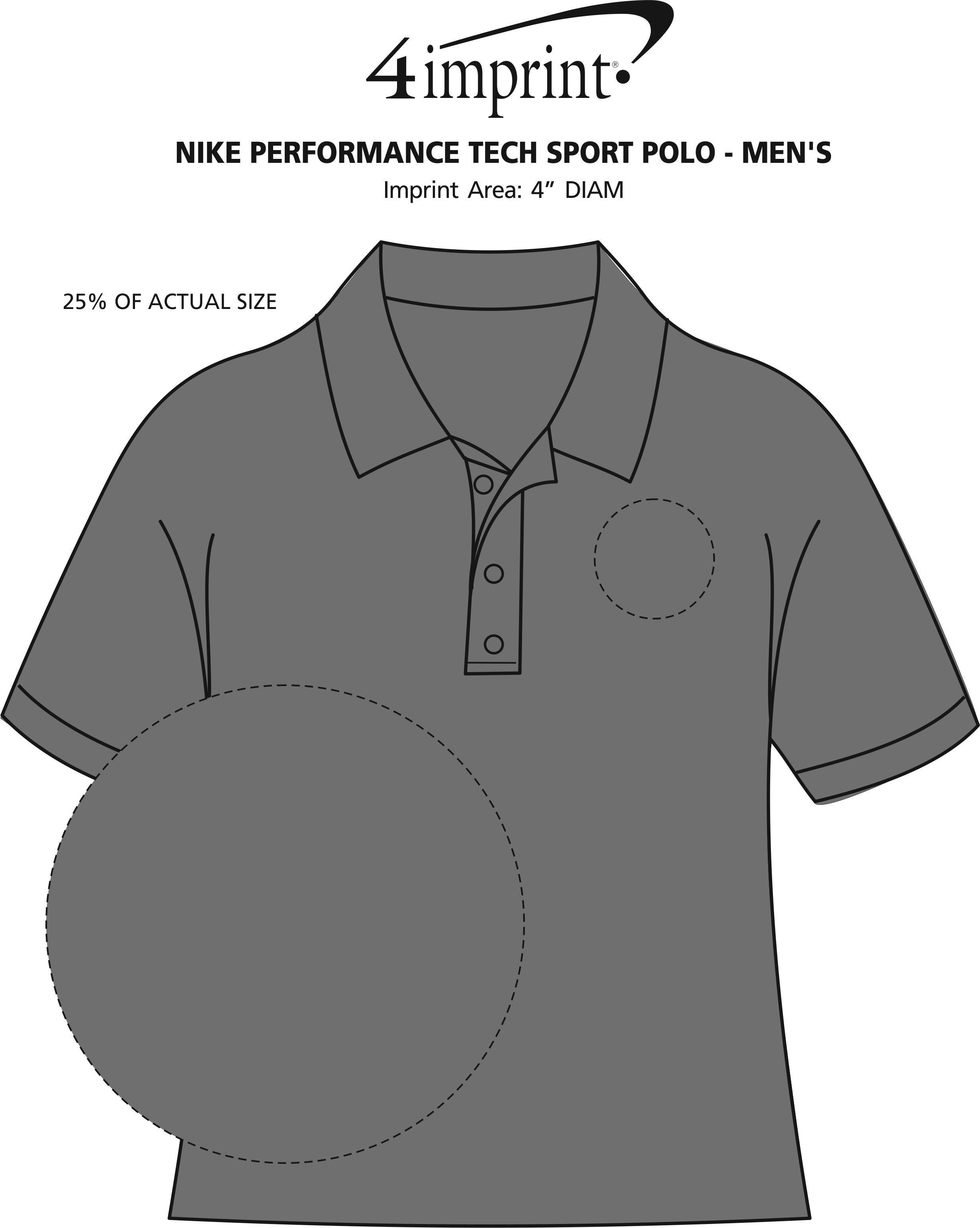 Imprint Area of Nike Performance Tech Sport Polo - Men's
