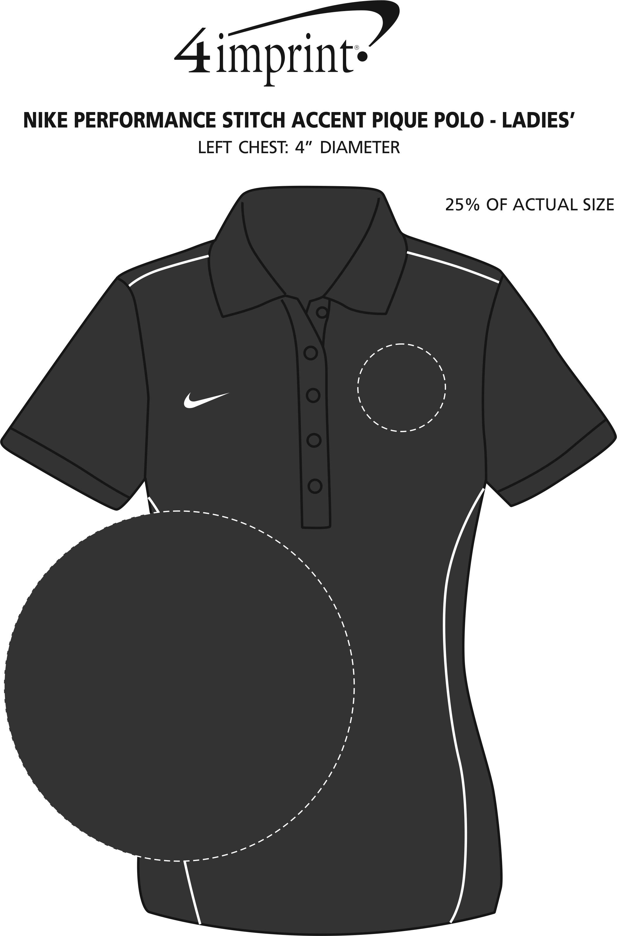 Imprint Area of Nike Performance Stitch Accent Pique Polo - Ladies'