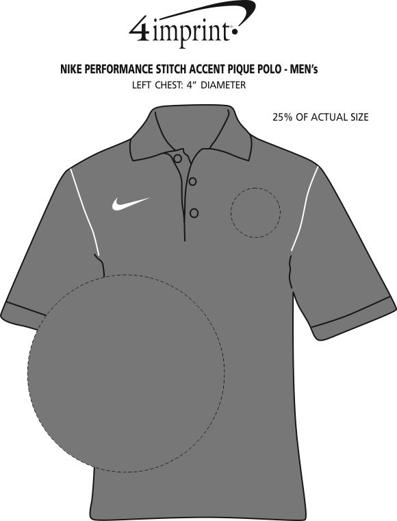 Imprint Area of Nike Performance Stitch Accent Pique Polo - Men's