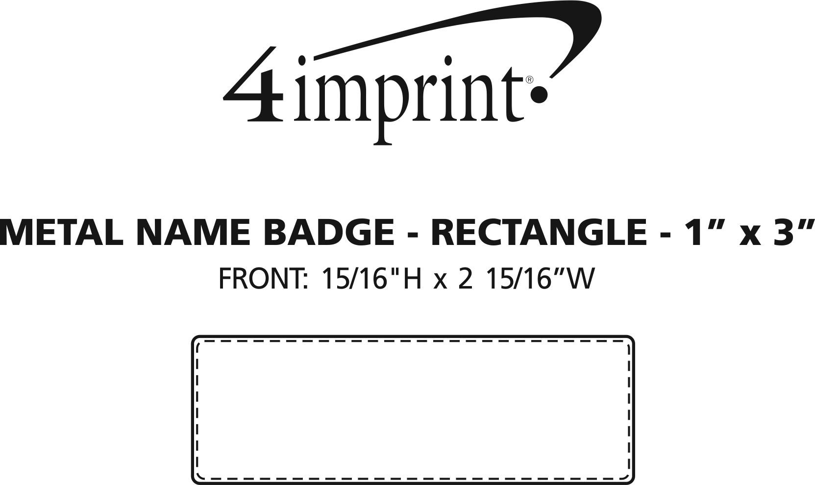 """Imprint Area of Metal Name Badge - Rectangle - 1"""" x 3"""" - Magnetic Back"""