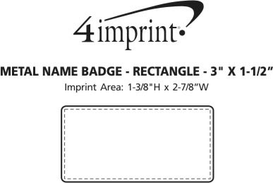 "Imprint Area of Metal Name Badge - Rectangle - 1-1/2"" x 3"" - Magnetic Back"