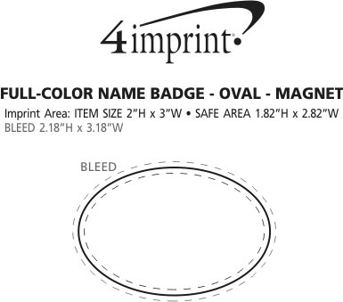 Imprint Area of Full Color Name Badge - Oval - Magnet