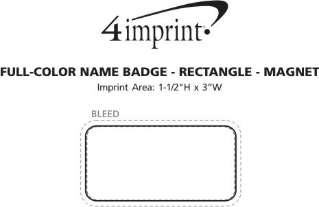 Imprint Area of Full Color Name Badge - Rectangle - Magnet