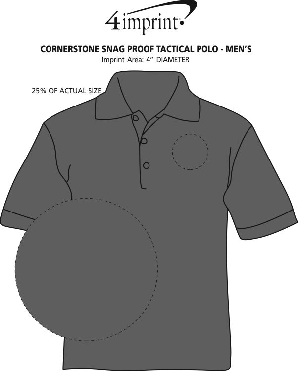 Imprint Area of Cornerstone Snag Proof Tactical Polo - Men's
