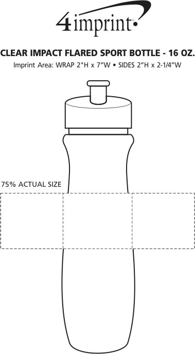 Imprint Area of Refresh Flared Water Bottle - 16 oz. - Clear