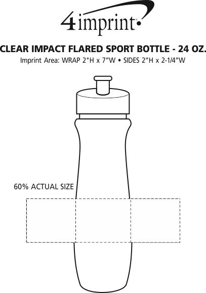 Imprint Area of Refresh Flared Water Bottle - 24 oz. - Clear