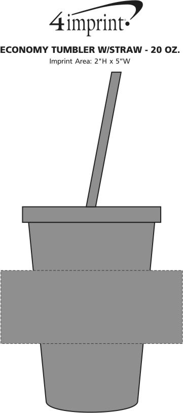 Imprint Area of Economy Tumbler with Straw - 20 oz.