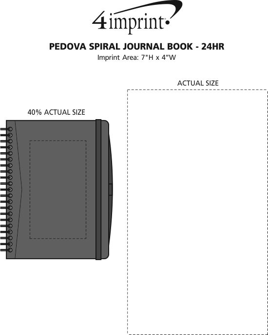 Imprint Area of Pedova Spiral Journal Book - 24 hr