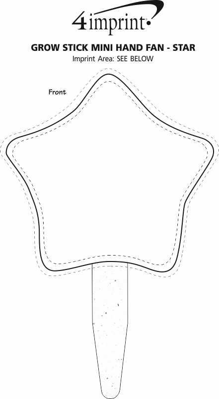 Imprint Area of Grow Stick Mini Hand Fan - Star
