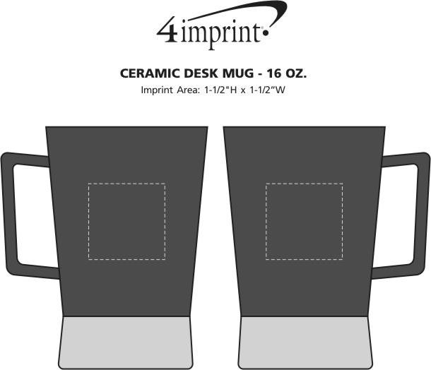 Imprint Area of Printed Coffee Desk Mug - 16 oz.