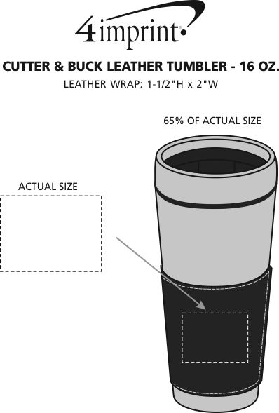 Imprint Area of Cutter & Buck Leather Tumbler - 16 oz.