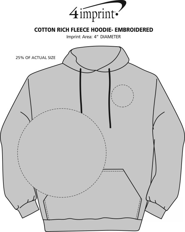 Imprint Area of Cotton Rich Fleece Hoodie - Embroidered