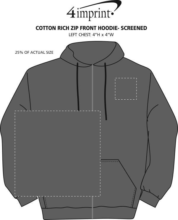 Imprint Area of Cotton Rich Zip Front Hoodie - Screen