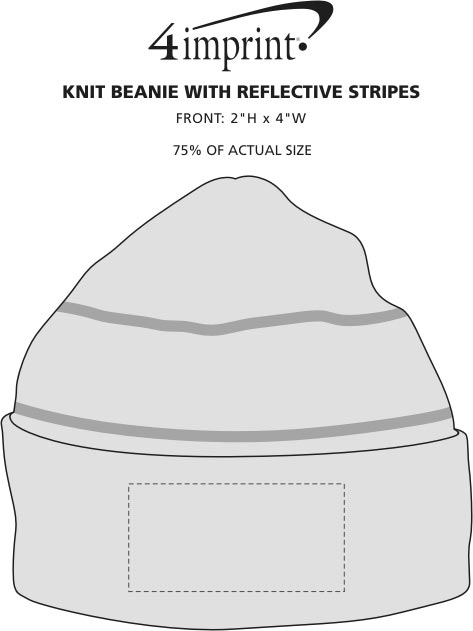 Imprint Area of Knit Beanie with Reflective Stripes