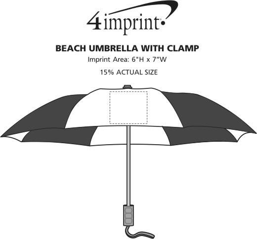 "Imprint Area of Beach Umbrella with Clamp - 48"" Arc"