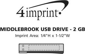 Imprint Area of Middlebrook USB Drive - 2GB