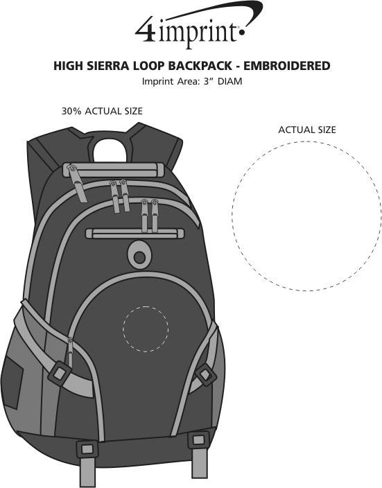Imprint Area of High Sierra Loop Backpack - Embroidered