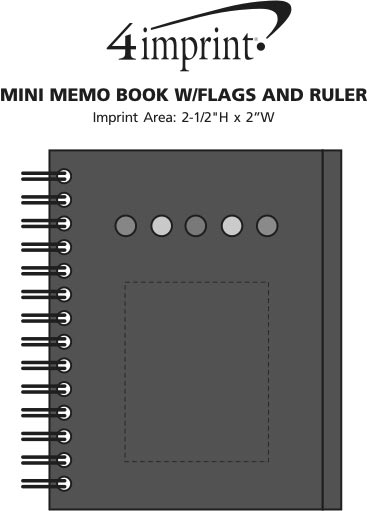 Imprint Area of Mini Memo Book with Flags and Ruler