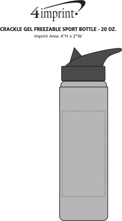Imprint Area of Crackle Gel Freezable Sport Bottle - 20 oz.