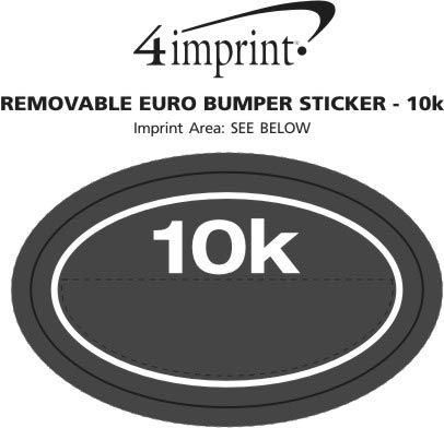 Imprint Area of Removable Euro Bumper Sticker - 10K
