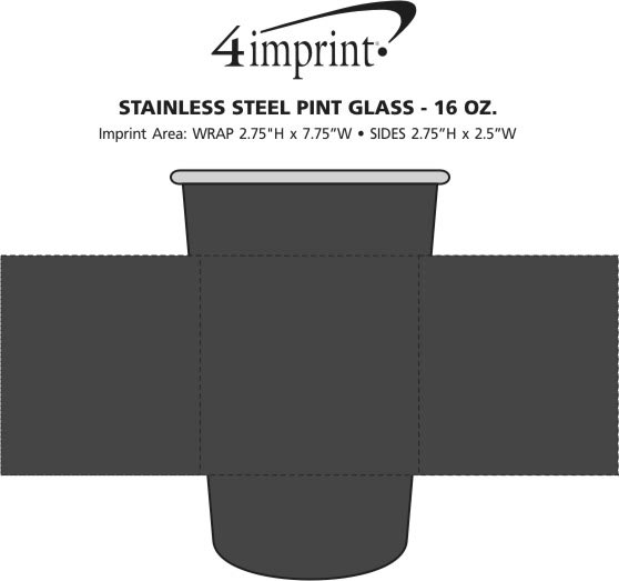 Imprint Area of Stainless Steel Pint Glass - 16 oz.