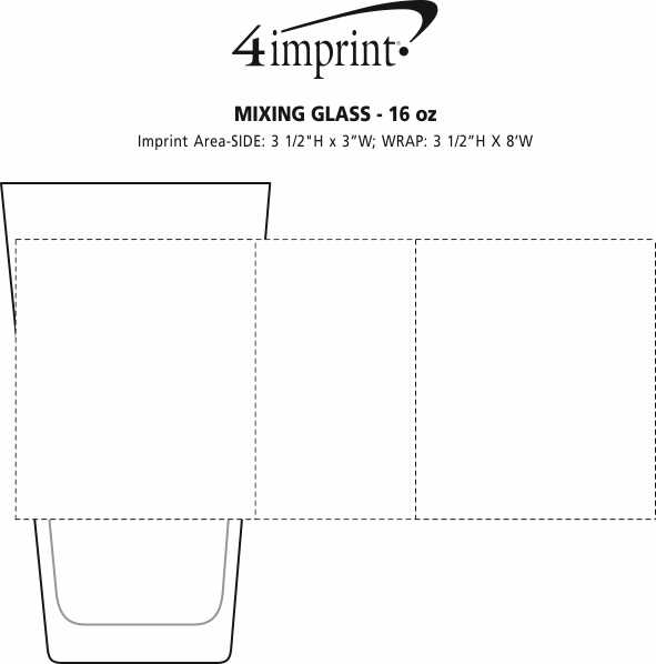 Imprint Area of Mixing Glass - 16 oz.