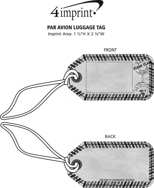 Imprint Area of Par Avion Luggage Tag