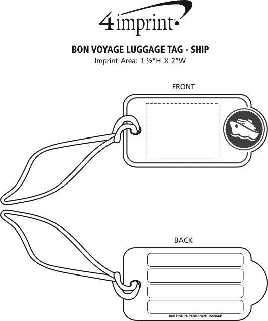 Imprint Area of Bon Voyage Luggage Tag - Ship