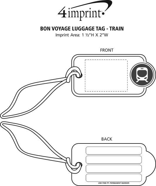 Imprint Area of Bon Voyage Luggage Tag - Train