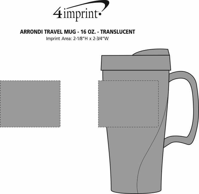 Imprint Area of Arrondi Travel Mug - 16 oz. - Translucent